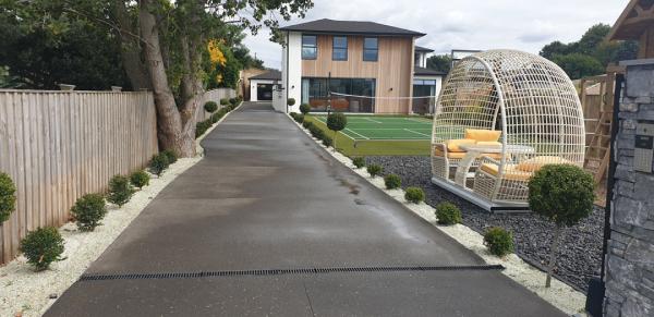New Concrete long Driveway to House