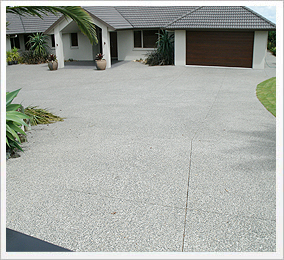 Exposed concrete driveway